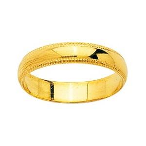 Alliance Or 750/1000 or jaune 4mm ciselé sur les cotés