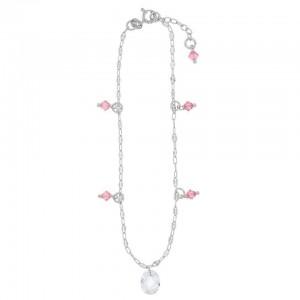 Chaine de Cheville Argent 925/1000 Pampille Rose et Transparente 23cm