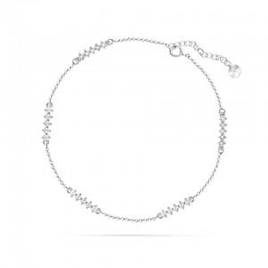 Chaine de Cheville Argent 925/1000 et Cristal de Swarovski White 26cm