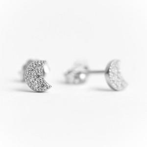 Boucles d'Oreilles Argent 925/1000 et Oxyde de Zirconium Demi Lune