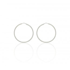 Boucles d'oreilles Argent 925/1000 Créole Ciselée 45mm