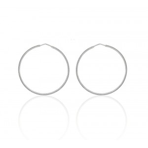 Boucles d'oreilles Argent 925/1000 Créole Ciselée 55mm