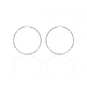 Boucles d'oreilles Argent 925/1000 Créole Facetée 55mm