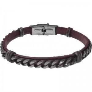 Bracelet Acier et Cuir marron italien - chaîne acier effet veilli