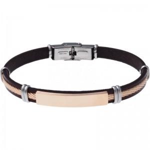 Bracelet Acier et Cuir Noir italien - plaque acier rosé