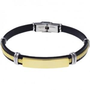 Bracelet Acier et Cuir Noir italien - plaque acier doré