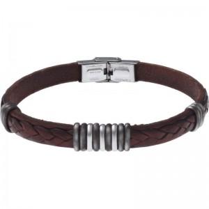 Bracelet Acier et Cuir marron italien