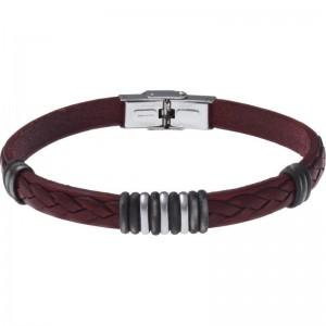 Bracelet Acier et Cuir rouge italien 21cm