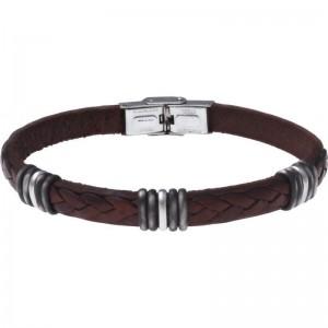 Bracelet Acier et Cuir marron italien 21.5cm