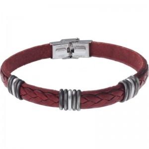 Bracelet Acier et Cuir rouge italien 21.5cm