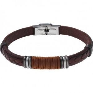 Bracelet Acier et Cuir marron italien - cordon marron