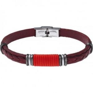 Bracelet Acier et Cuir rouge italien - cordon rouge