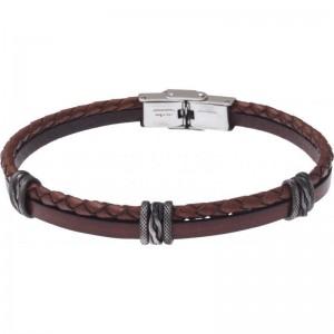 Bracelet Acier et Cuir - cuir tressé italien marron