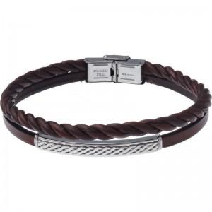 Bracelet Acier et Cuir 2 rangs et cuir tressé italien marron