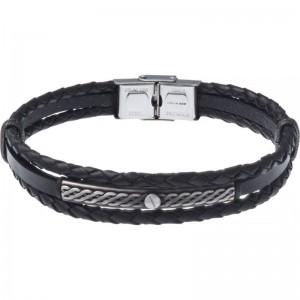 Bracelet Acier et Cuir italien noir 2 rangs tressés et 1 lisse