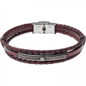 Bracelet Acier et Cuir italien marron 2 rangs tressés et 1 lisse
