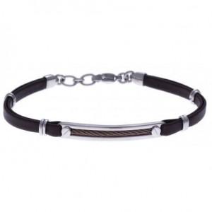 Bracelet Acier et Cuir marron italien - câble marron - 19+4cm