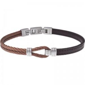 Bracelet Acier et Cuir marron - nœud marin - 2 câbles acier marron