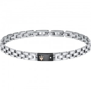 Bracelet acier MASERATI BLACK W NATURAL DIAMOND