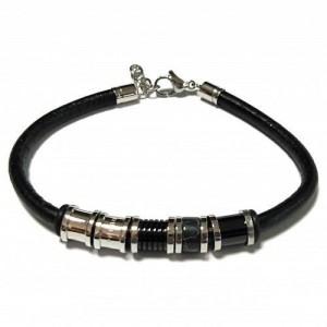 Bracelet Acier et Cuir Noir