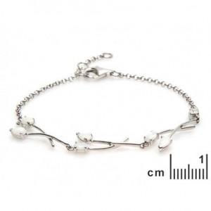 Bracelet Argent 925/1000 et Pierres Naturelles Opale 18cm