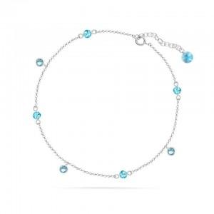 Chaine de Cheville Argent 925/1000 et Cristal de Verre Aquamarine 26cm