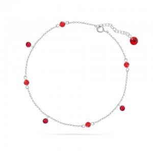 Chaine de Cheville Argent 925/1000 et Cristal de Verre Scarlet