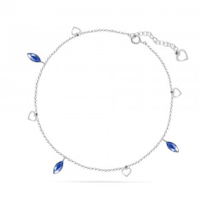 Chaine de Cheville Argent 925/1000 et Cristal de Verre Aquamarine