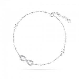Chaine de Cheville Argent 925/1000 et Cristal de Verre White