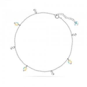Chaine de Cheville Argent 925/1000 et Cristal de Verre Aurore Boreale