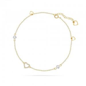 Chaine de Cheville Argent 925/1000 et Cristal de Verre Doré White