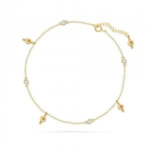 Chaine de Cheville Argent 925/1000 et Cristal de Verre Doré Light Gold