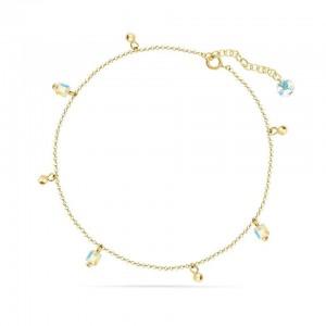 Chaine de Cheville Argent 925/1000 et Cristal de Verre Doré Aurore Boreale
