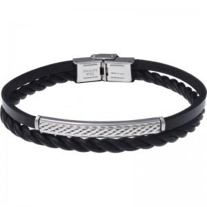 Bracelet Acier et Cuir 2 rangs et cuir tressé italien noir
