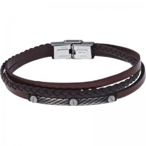 Bracelet Acier et Cuir italien marron 3 rangs tressés et 1 lisse