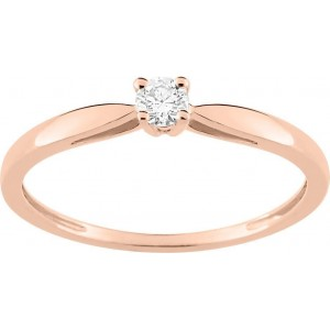 Bague Or 750/1000 et Diamant 0.10ct Or Rose Taille 52