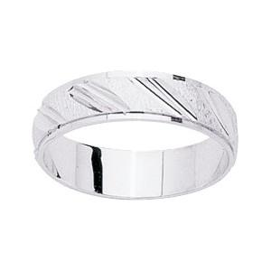 Alliance Or 750/1000 blanc ruban 4mm trait oblique cisele