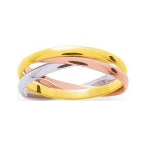 Alliance Or 750/1000 anneau 2mm entrelacé jaune blanc rose