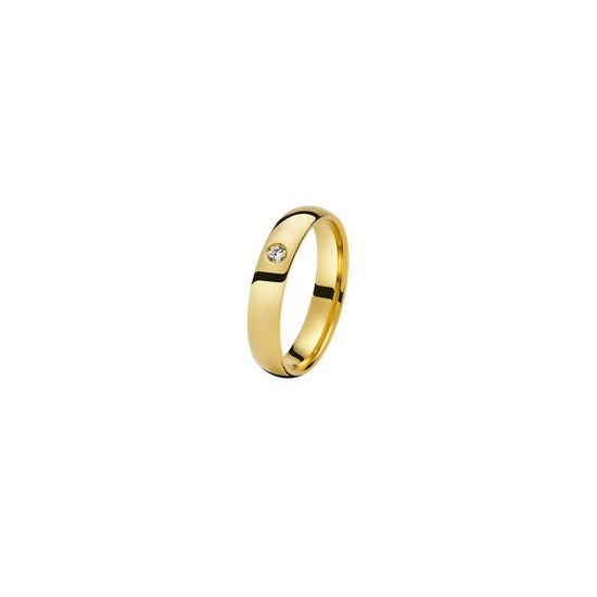 Alliance Or 750/1000 Diamant Demi jonc confort 4mm avec un diamant 0.05ct