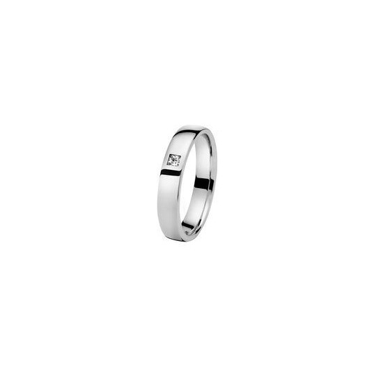 Alliance Or 750/1000 Diamant Ruban confort 4mm avec un diamant 0.05ct