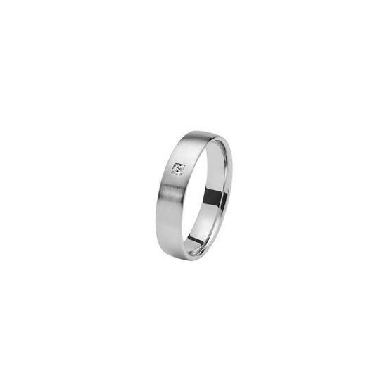 Alliance Or 750/1000 Diamant Ruban confort 4mm brosse avec un diamant 0.05ct